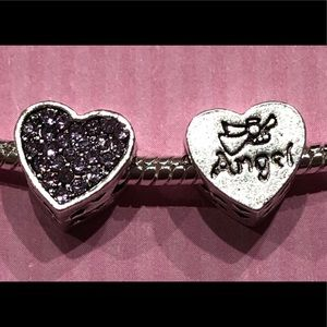 Jewelry - NEW 2 Heart shaped DIY spacer/charm crystal detail